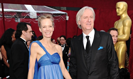 Director James Cameron and wife actress Suzy Amis at the Oscars in 2010