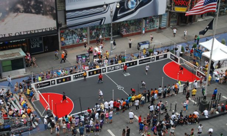 Street Child World Cup in pedestrianised Times Square