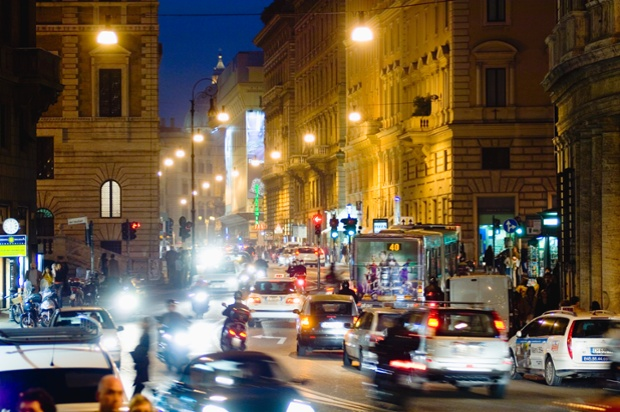 Traffic on Corso Vittorio Emanuele in Rome.