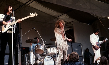 The Who performing at the Isle of Wight festival, 1969: John Entwistle on the left. High-res audio will bring out his bass playing more clearly.