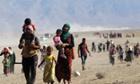 Displaced Yazidis fleeing violence n Sinjar town