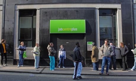 Jobseekers queue outside a jobcentre in Bristol.
