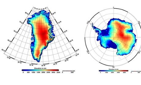 New elevation models of Antarctica  and Greenland by ESA's CryoSat satellite New elevation models of Antarctica (right) that incorporates 61 million measurements and new elevation model of Greenland (left) that incorporates 7.5 million measurements from ESA's CryoSat satellite collected throughout 2012.