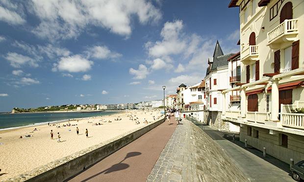 A beach boardwalk at St. Jean de Luz in the French Basque region
