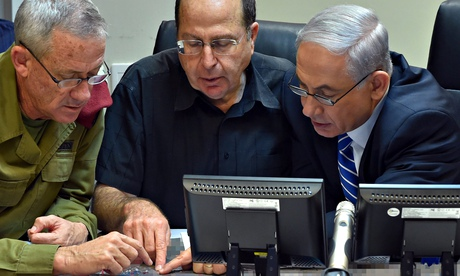 Israel prime minister Binyamin Netanyahu, defence minister Moshe Ya'alon, chief of staff Benny Gantz