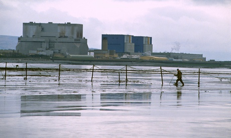 Mud fisherman in the shadow of Hinkley Point nuclear power station, 1996