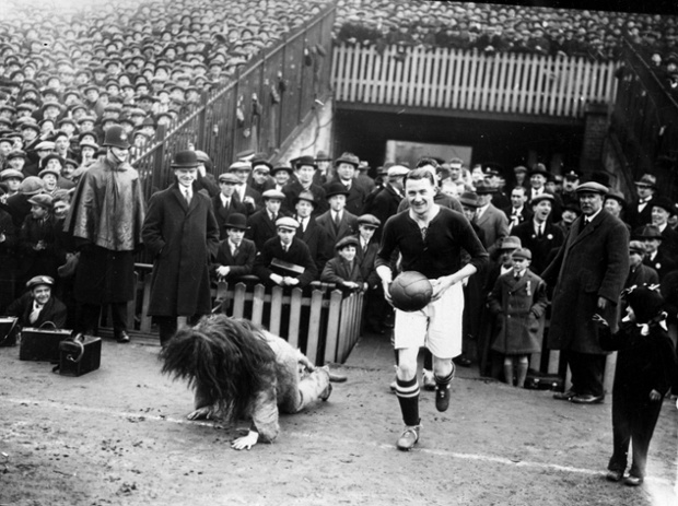 Millwall captain, Len Graham, fails to conceal his amusement as he leads his team out at the Den and Zampa the Lion falls over.