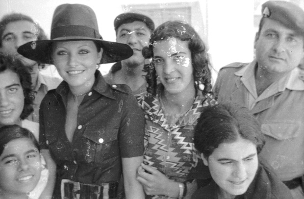 Miss Universe Georgina Rizk visiting Baalbek in 1977