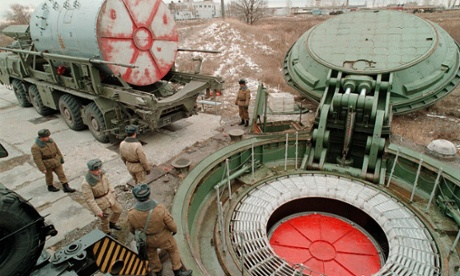 Replacement of a Russian nuclear missile  in a silo in Saratov region, southwestern Russia, 1998  EPA PHOTO   EPA