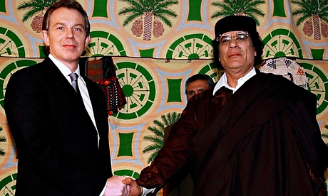 Tony Blair and Libyan leader Muammar Gaddafi in Tripoli in 2004, at the time when intelligence agencies in the two countries were co-operating. Photograph: Stefan Rousseau/PA