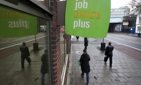 Jobseekers enter a jobcentre plus in London.