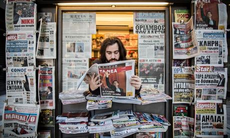 Newsstand in Athens the day after the election