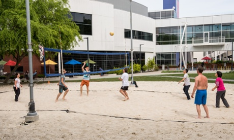 Volleyball on Google campus at Mountain View HQ, California.