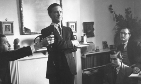 Kim Philby holding a press conference after being cleared of spying charges.