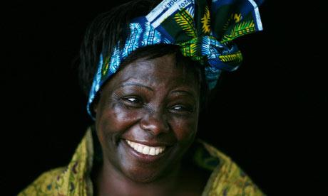 Kenyan Nobel peace prize winner Wangari Maathai. Photograph: Martin Godwin