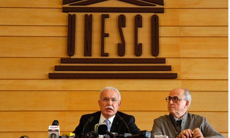 Palestinian foreign minister, Riyad al-Malki (left), and ambassador to Unesco, Elias Sanbar