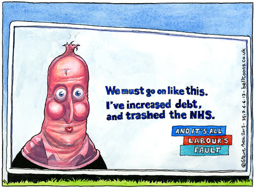 05.06.13: Steve Bell on David Cameron blaming Labour for the crisis in the NHS
