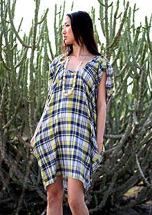 People Tree check dress, £65, designed by Bora Aksu.