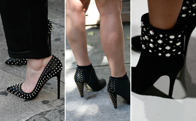 Studded boots at New York fashion week