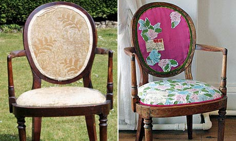 A chair, before and after reupholstery