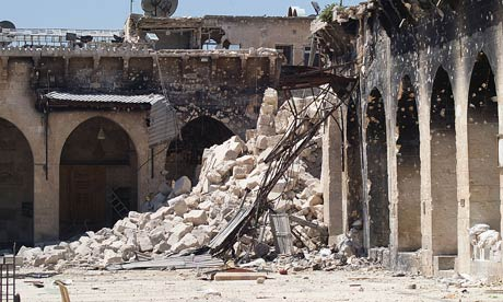 The rubble of the minaret of Aleppo's Umayyad mosque