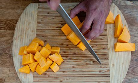 Dan step 2: Peel pumpkin, chop into cubes, bake or microwave, covered, without water, until tender