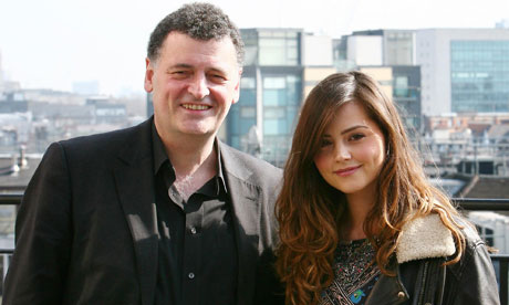 New Doctor Who companion Jenna-Louise Coleman with Head Writer Steven Moffat.