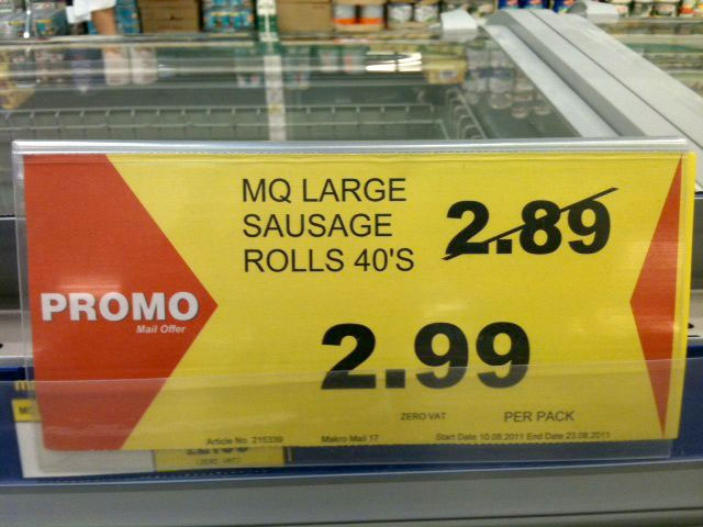 Daft Deals 051111: Sausage rolls deal in Makro, Reading