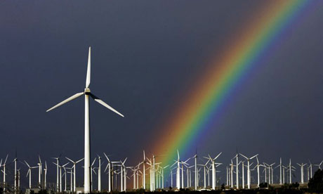 Windfarm and rainbow