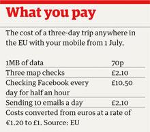 Data roaming table