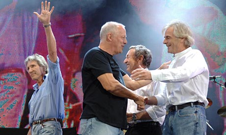 Members of legendary group Pink Floyd: Roger Waters, David Gilmour, Nick Mason and Rick Wright