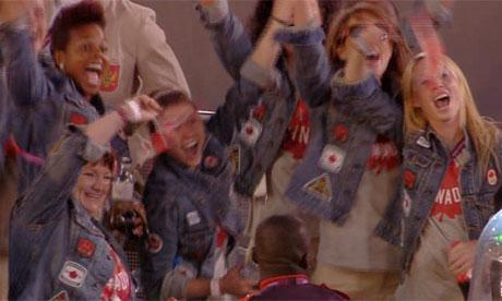 Canada team at the Olympics closing ceremony