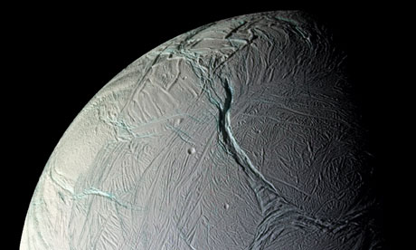 The mosaic of fractures, folds and ridges in the surface of Enceladus, captured by Nasa's Cassini spacecraft. (Nasa/JPL/Space Science Institute)