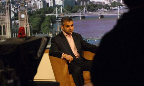 Sadiq Khan, MP for Tooting, on the Andrew Marr Show on February 3 2008. Photograph: Jeff Overs/BBC/PA Wire