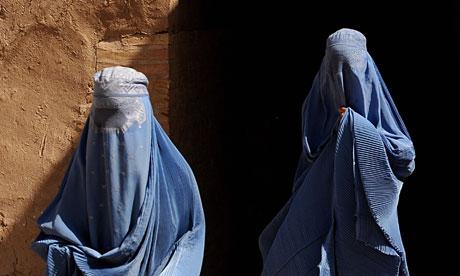 Burqa-clad Afghan women
