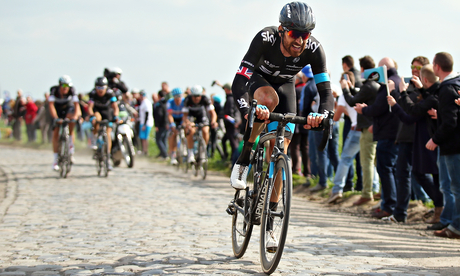 Bradley Wiggins in action in Roubaix.