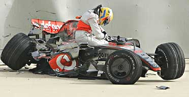 Lewis Hamilton following a crash during practice in Bahrain