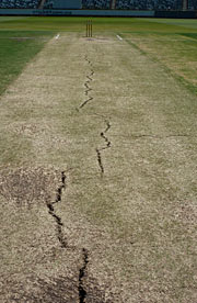 Fault line at the Waca. The third Test is due to take place on a strip two pitches away from here. Photograph: John Townsend