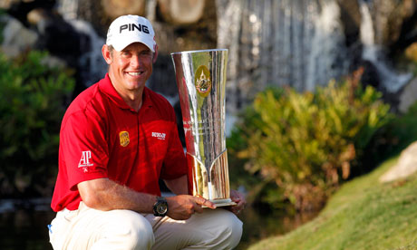 Lee Westwood poses with the trophy after winning Thailand Golf Championship