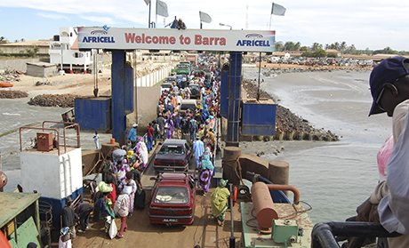The dilapidated Banjul-Barra ferry on the Gambia river
