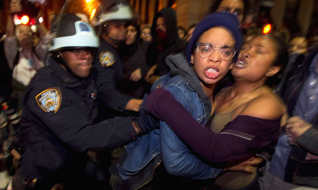 Occupy Wall St activists clash with New York Police after being removed from Zuccotti Park