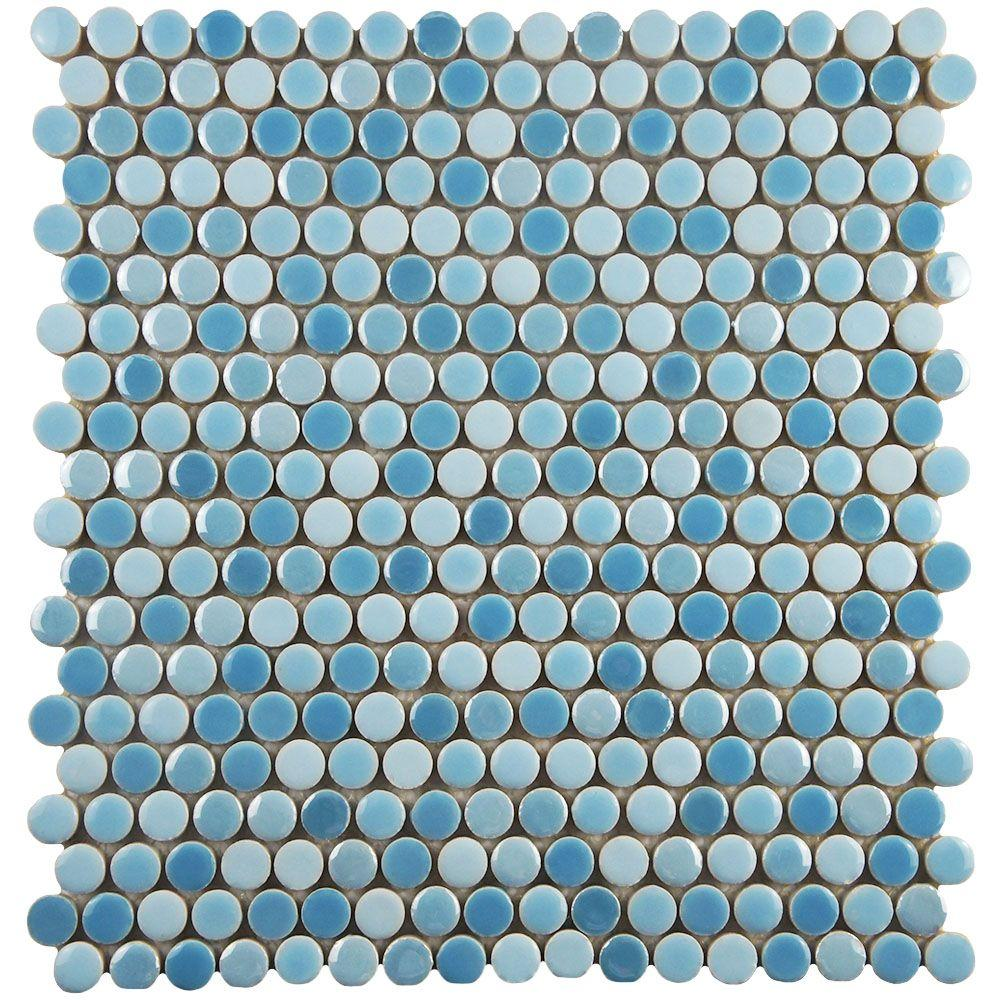 merola tile galaxy penny round oceano 11 1 4 in x 11 3 4 in x 9 mm porcelain mosaic tile ocean blue mixed finish