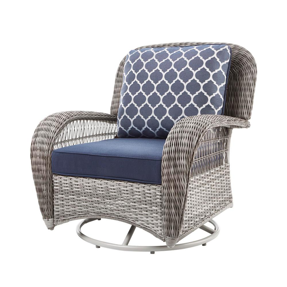 hampton bay beacon park gray wicker outdoor swivel lounge chair with midnight cushions