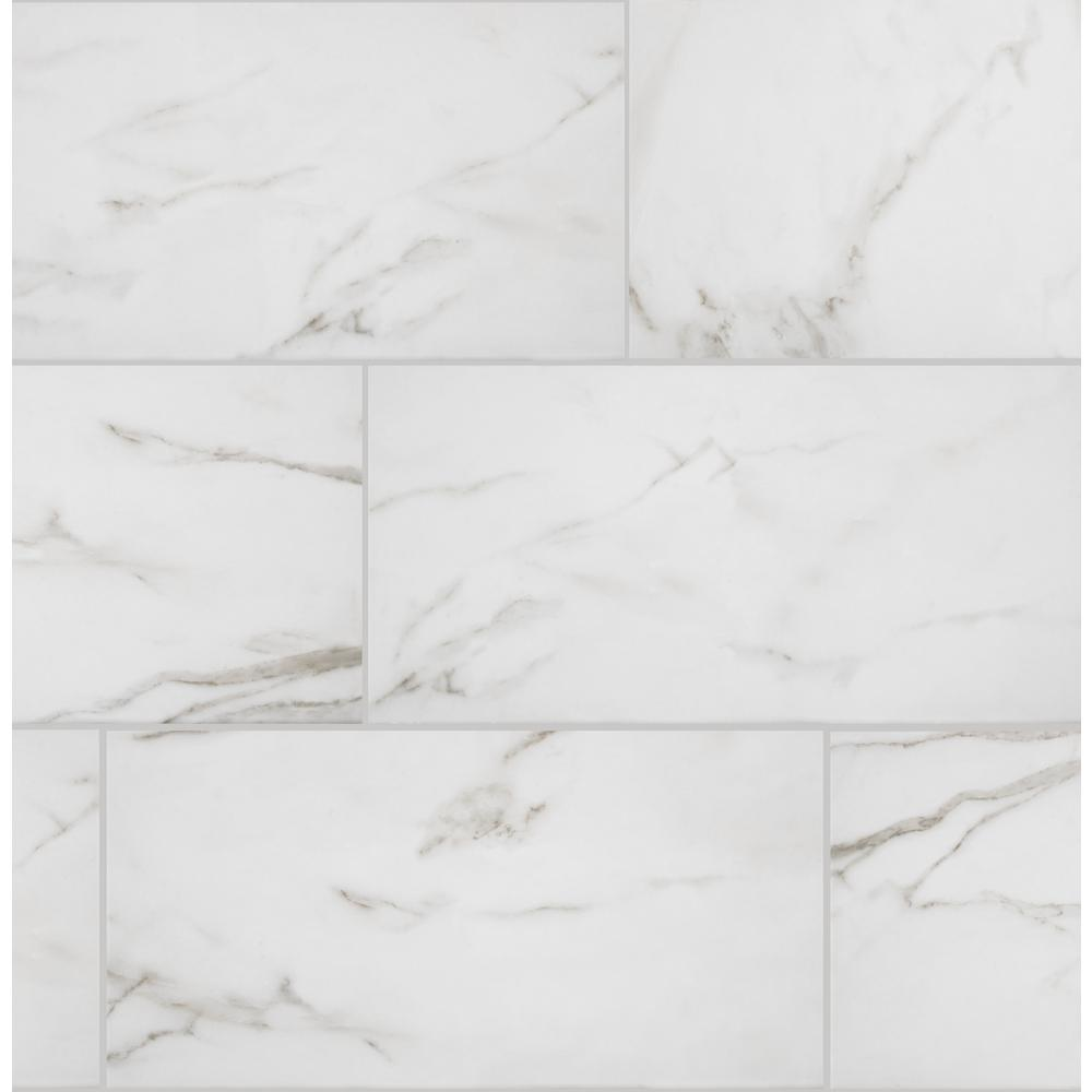 florida tile home collection michelangelo calacatta rectified 12 in x 24 in porcelain floor and wall tile 13 3 sq ft case white with grey vein