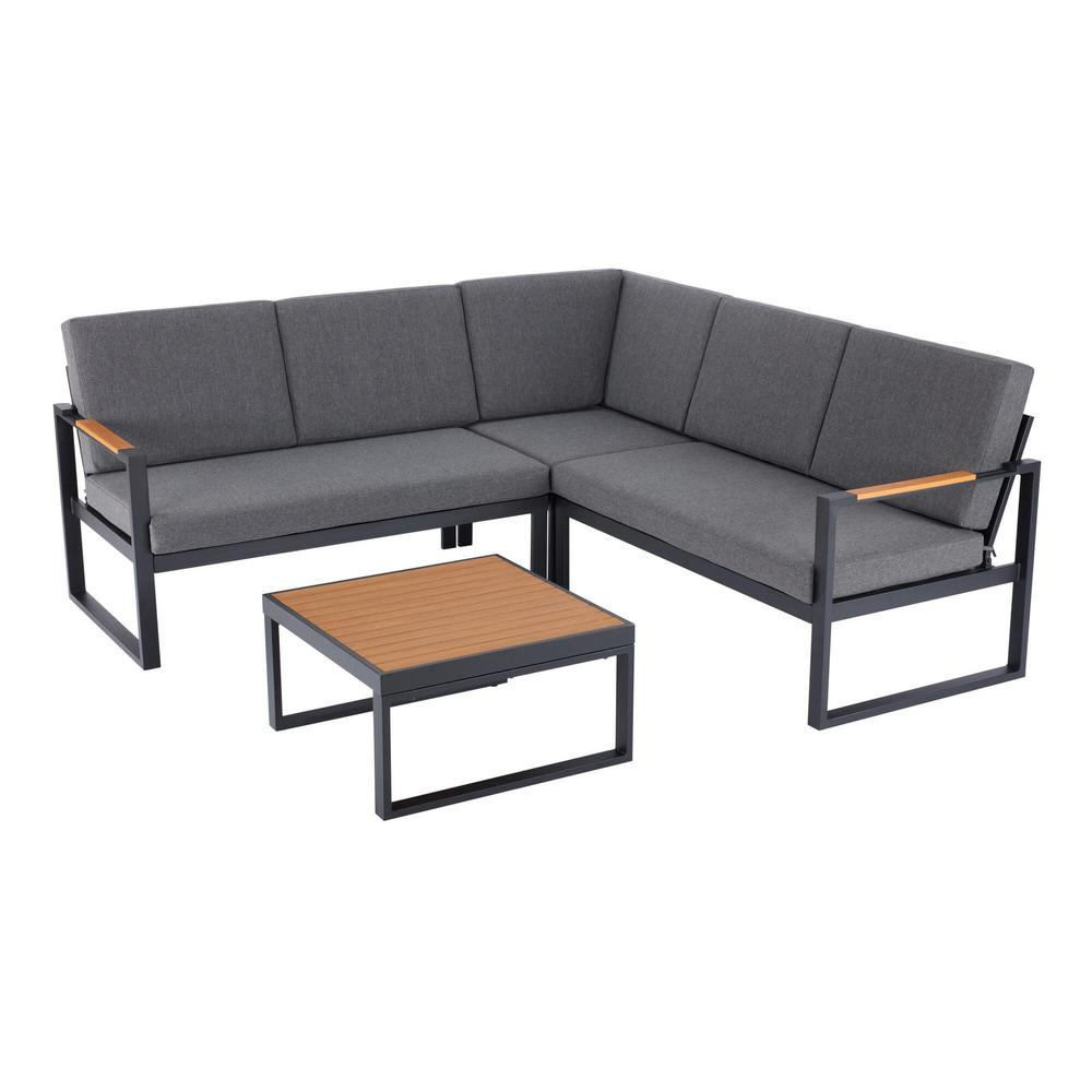 hampton bay pinnacle 4 piece metal outdoor sectional set with graphite cushions
