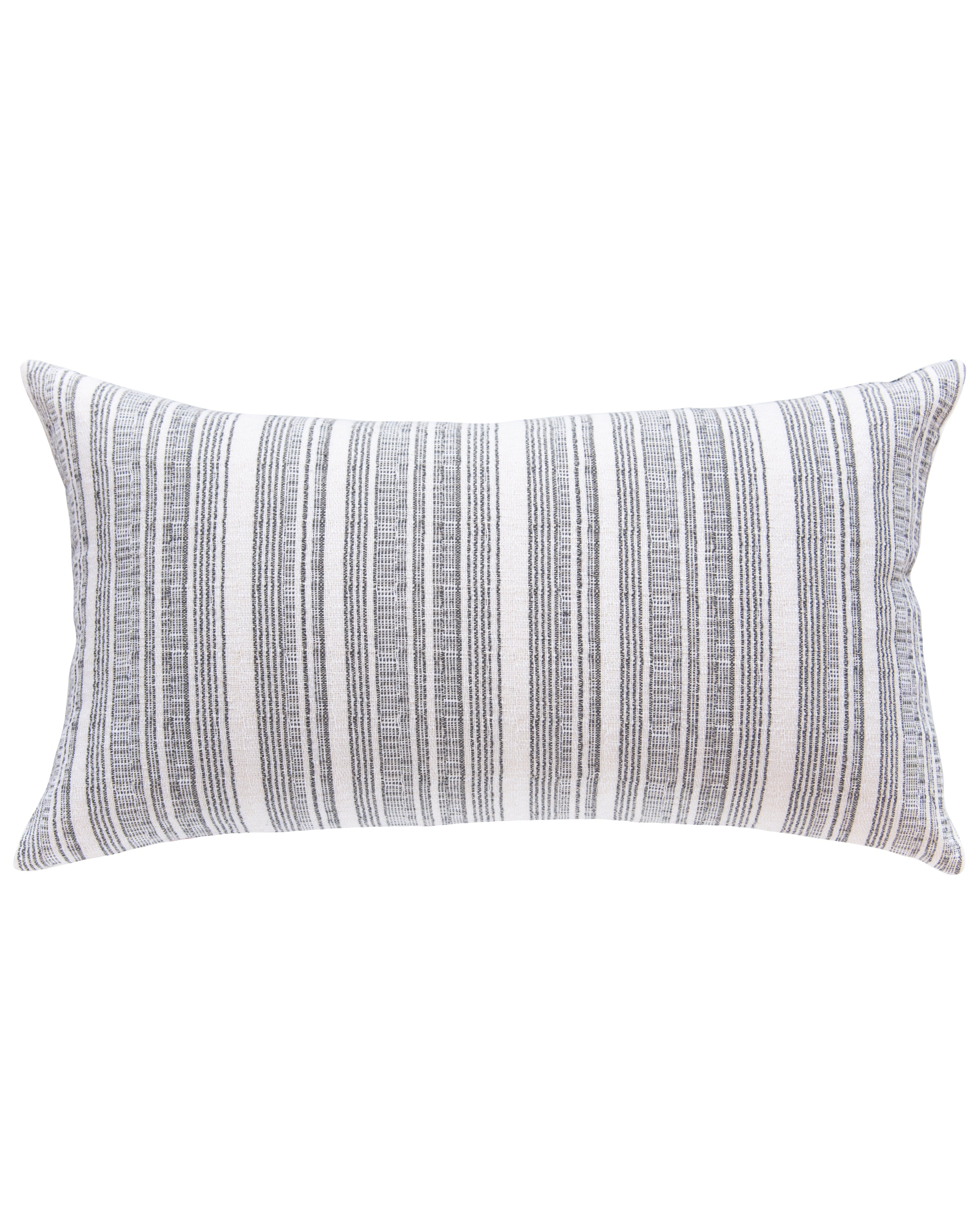 hmong striped large lumbar pillow in cream with grey cover only