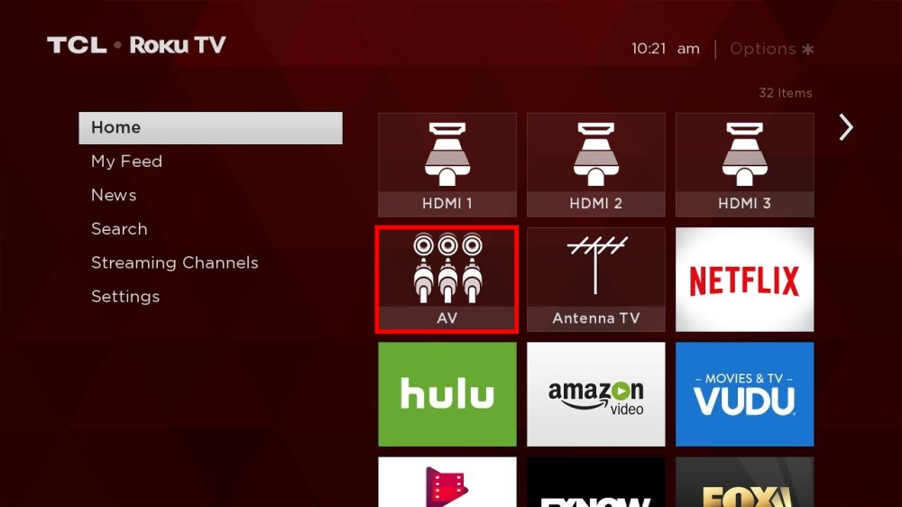 medium resolution of from the home screen and using the tcl roku remote navigate to the av tile