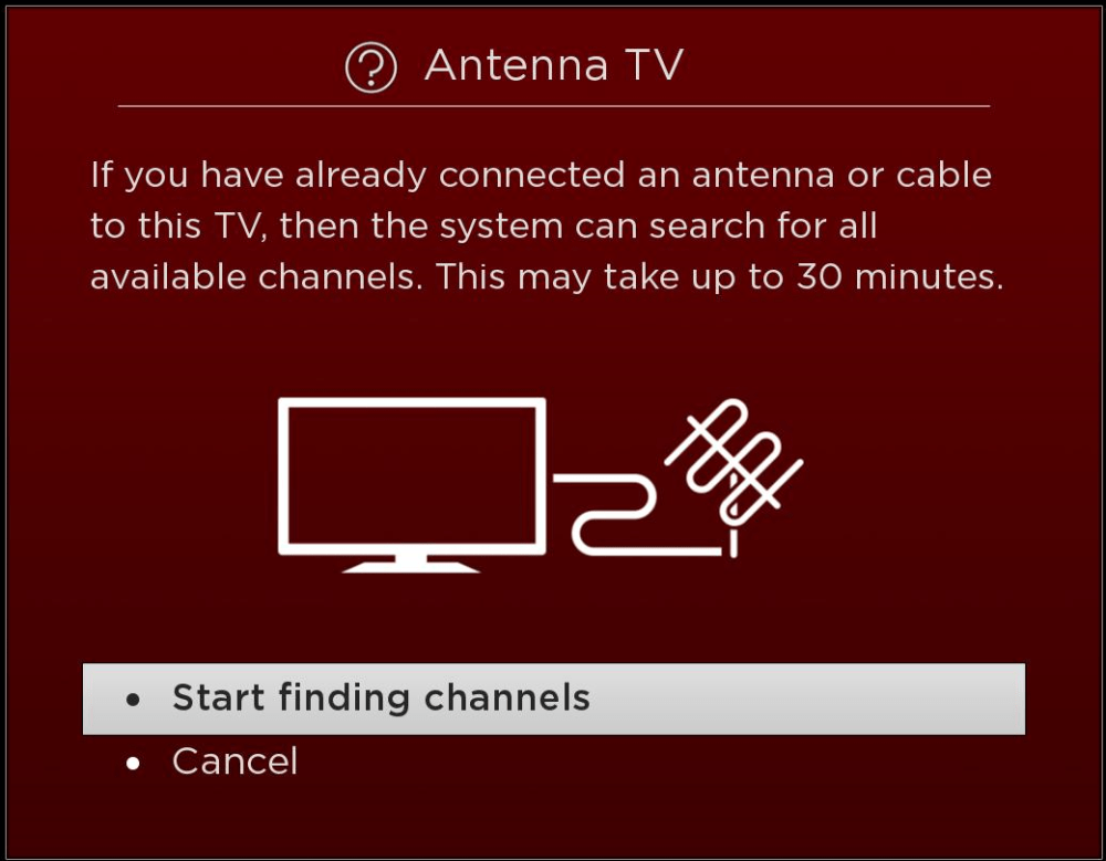 medium resolution of select start finding channels and press the ok button on your tcl roku remote