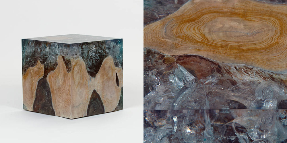 Petrified Wood And Resin Side Tables By Andrianna Shamaris