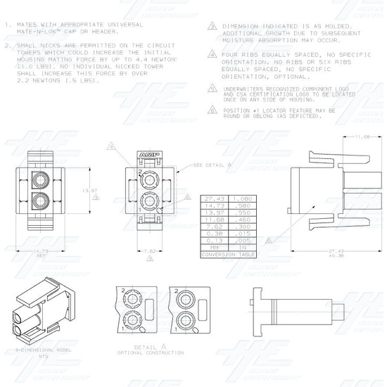 TYCO ELECTRONICS Universal Plug Housing, 2 Way Mate N Lok